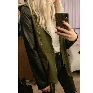 Army green jacket with pleather sleeves